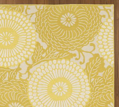 Kaley Bloom Rug yellow floral rug by Pottery Barn
