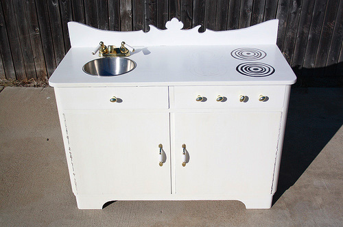 Manda worked magic with a cabinet into a toy kitchen.