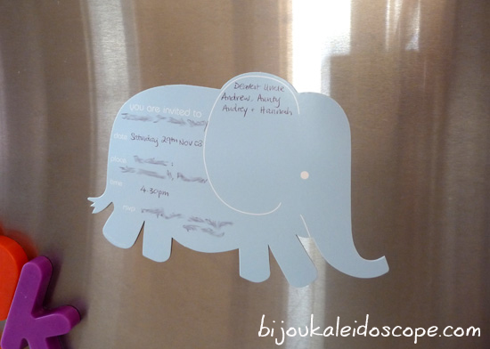 The elephant themed party, with the elephant party invite