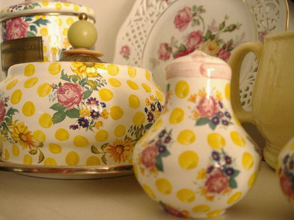 My aunt's collection of spotty yellow Mackenzie Child's enamelware