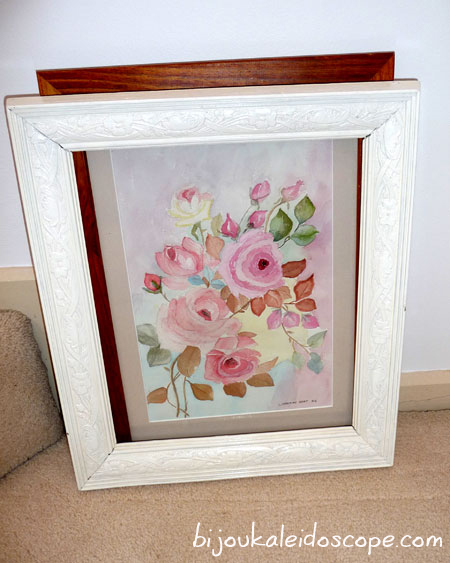 A rose watercolour that my husband's nanna painted when she was 92.