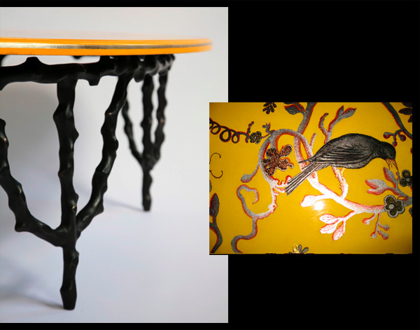 Lacquered yellow top table, by Marianna Kennedy