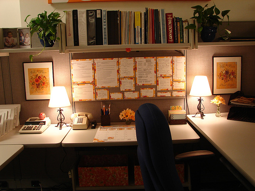 Beautifully personalised office cubicle, via Flickr user: lorihighfill