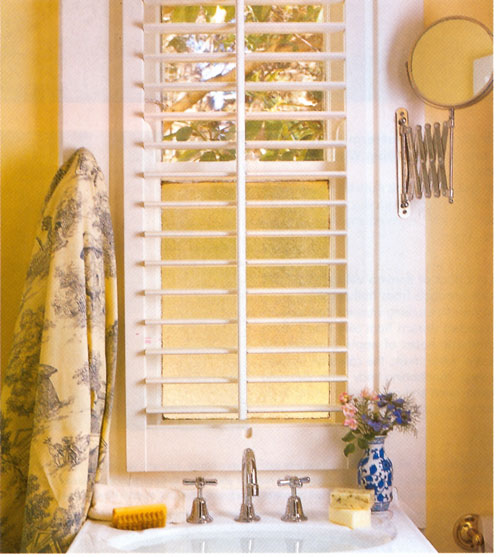 Yellow bathroom, via Country Home Ideas
