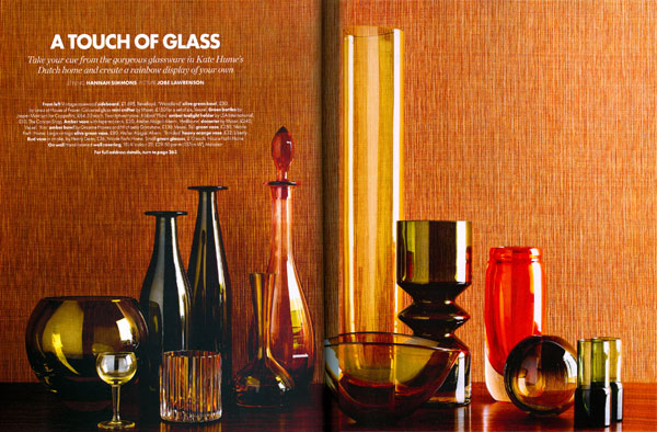 Collection of Holmegaard vases as shown in Elle Decoration