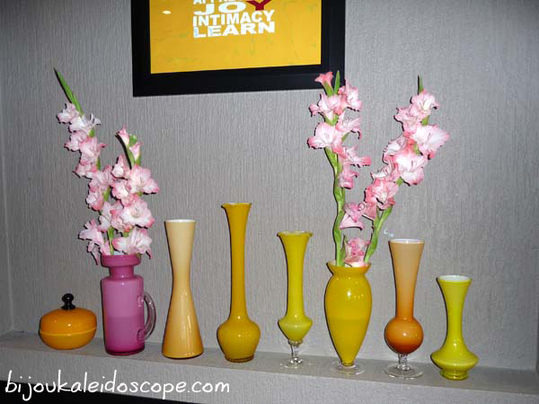 Wedded for five years, and pink gladiolis grace our mantlepiece and my happy yellow vases