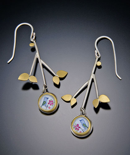 "Earrings by  <a href=""http://www.anandakhalsa.com/"">Ananda Khalsa</a>."