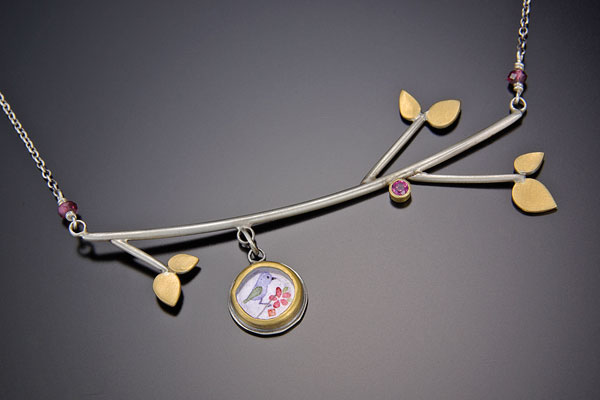 "Fine necklace with pendant and tree branches by  <a href=""http://www.anandakhalsa.com/"">Ananda Khalsa</a>."