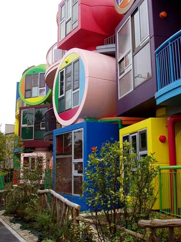 "The colourful <a href=""http://www.reversibledestiny.org/mitaka.php"">Reversible Destiny</a> lofts in Mitaka, Japan."