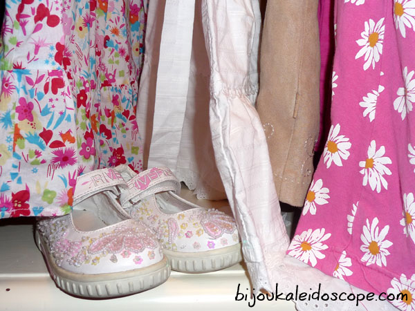 My Hannah's pink and white shoes