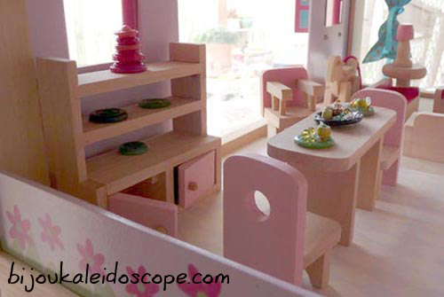 Dining table set up in our dollhouse