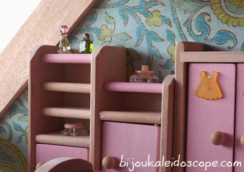 Beads as boudoir and perfumes in our dollhouse
