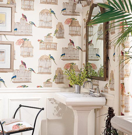 A bathroom wallpapered in a Thibaut piece