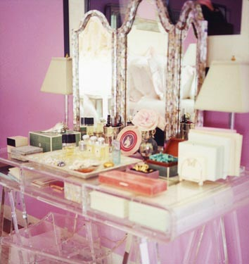 Lucite boudoir in a pink room, via now defunct Domino