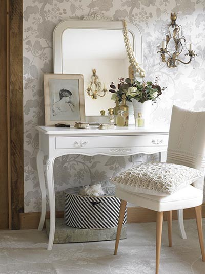 French white dressing table, via Lucyina Moodie.