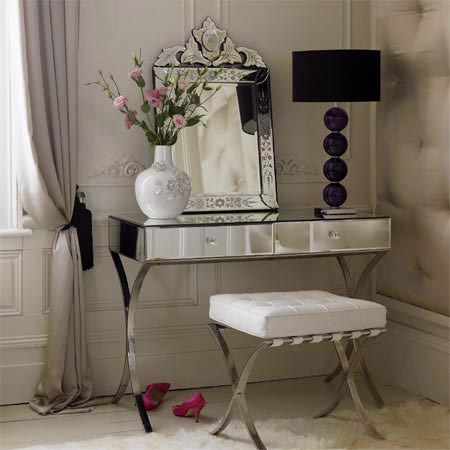 Mirrored dressing table with two drawers