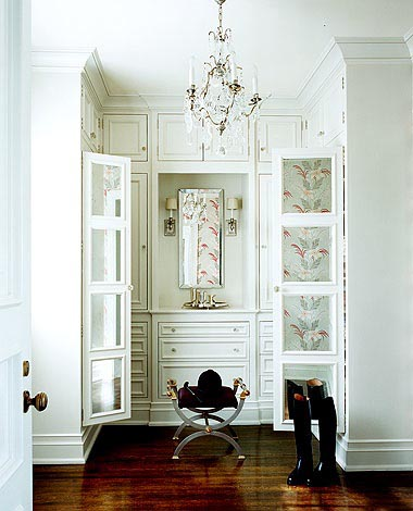 Dressing and walk in closet with dressing table, via Madeline Stuart