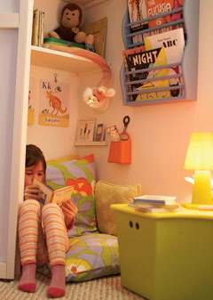 A reading nook in a child's bedroom