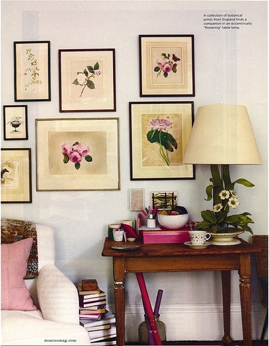 A corner of Rita Konig's home with beautiful botanical prints