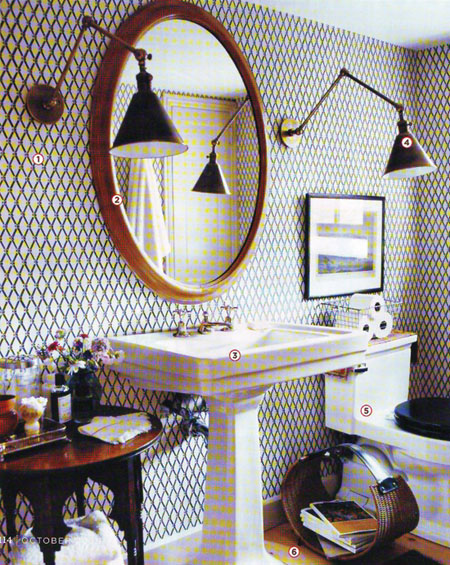 Bathroom wallpapered, Rita Konig