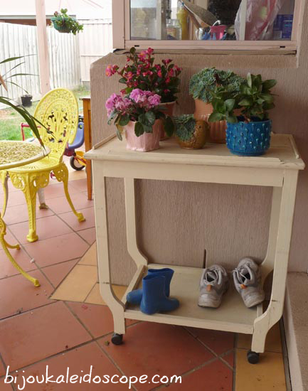 My little side table outside our kitchen window