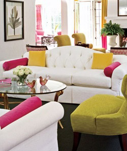 Candy coloured living room