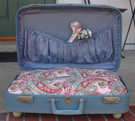 vintage suitcase as pet bed, via Apartment Therapy