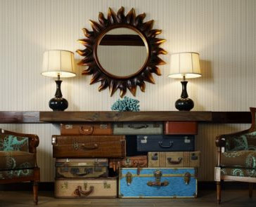 Sideboard made from many suitcases put together, via Re-nest