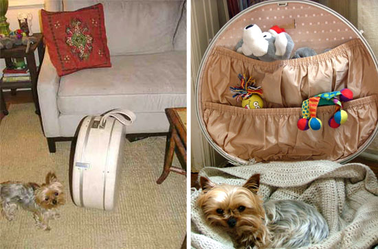 vintage suitcase for a small pooch means you can take it away with you for sleepovers or for work!