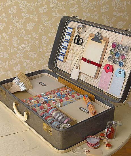 vintage suitcase as letter writing kit