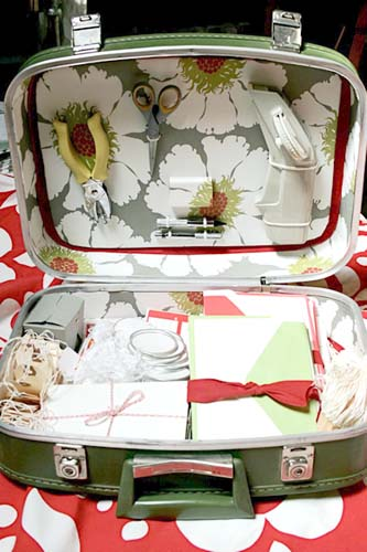 vintage suitcase as gift wrapping station