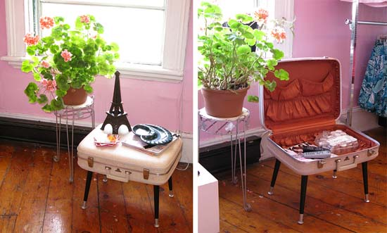 vintage suitcase as side table