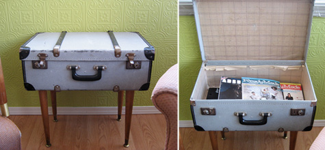 Vintage suitcase with legs make a cute side table, via Ready Made Mag