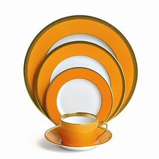 The orange gold dinnerware, Laque De Chine Mandarin Gold, Haviland from Michael C Fina