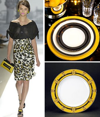 Yellow, black and white dinnerware set, via Toast and Tables