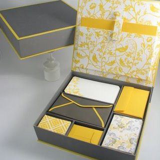 Yellow and grey stationery box by Elum Designs