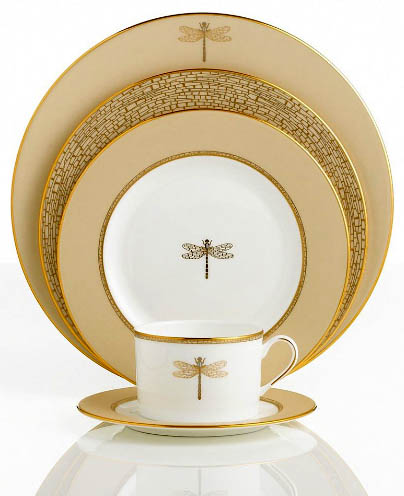 Kate Spade June Lane series gold and dragonfly dinnerware