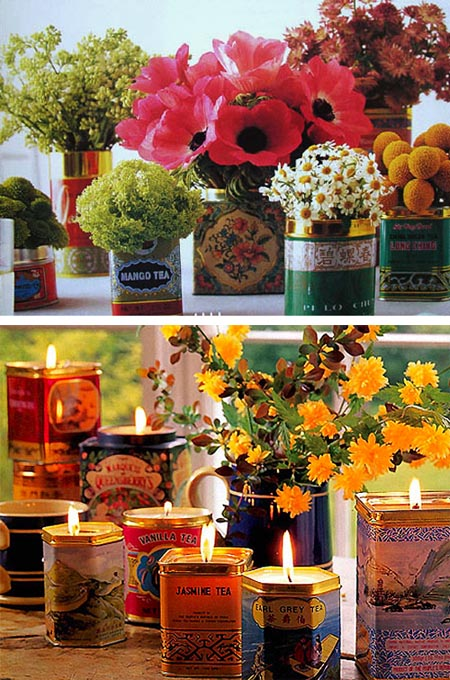 top image from gathering spriggs, tea tins used as flower vases