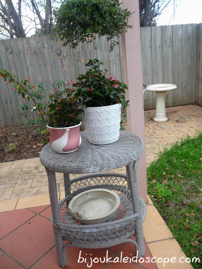 Side table in the courtyard