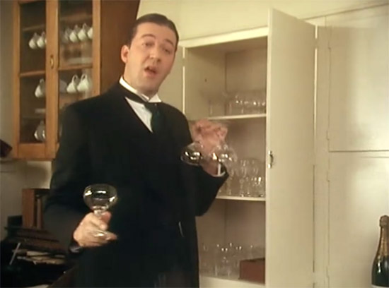 Jeeves stocking Wooster's butler's pantry, Jeeves & Wooster