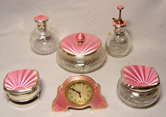 Pink guilloche vanity set, via Antique Clocks website