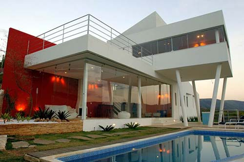 Modern house is located in the hills of Nova Lima, Minas Gerais State, Brazil
