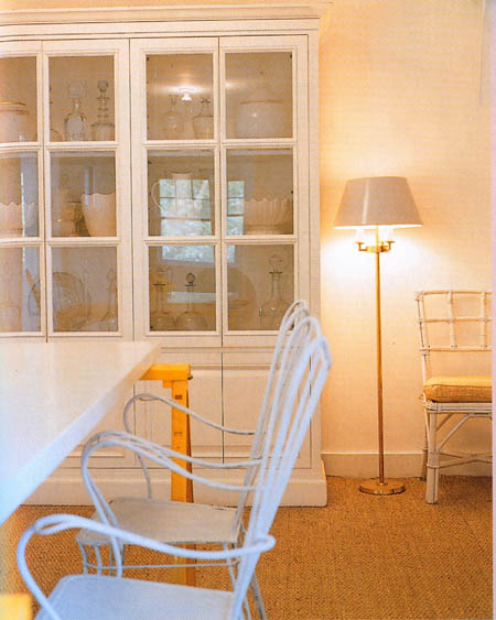 White bookcase and white lamp and white table and white chair, via Tessa Evelegh's House Beautiful: Storage Workshop