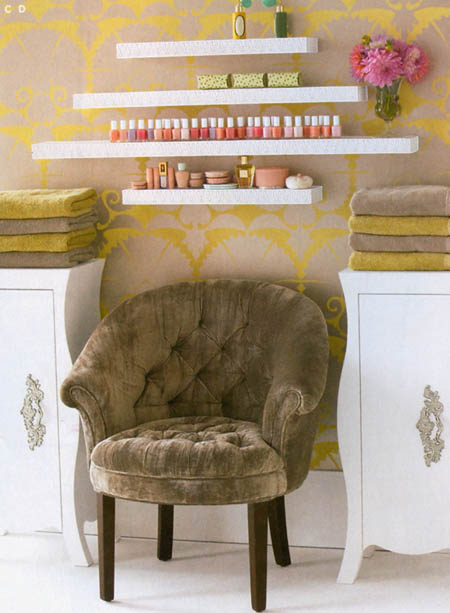 Velvet chair, in a Brocade Home Magazine