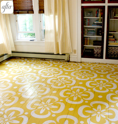 Yellow and white painted floor, via Paisley Wallpaper