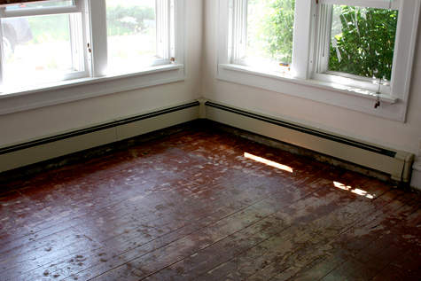 The floors are ready for painting, Paisley Wallpaper: Lori's painted floor