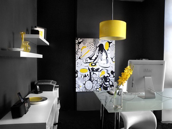 Tim Neve's black, white and yellow office