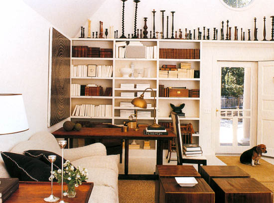 Collection of wooden candlesticks, via Tessa Evelegh's House Beautiful: Storage Workshop
