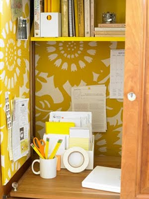 Yellow desk from an old armoire, via Ladies Home Journal