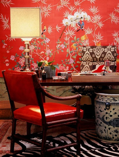 white orchid in red study, via Robyn Karp